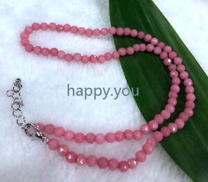 "4mm pink Rhodochrosite beaded necklace facet 18 """