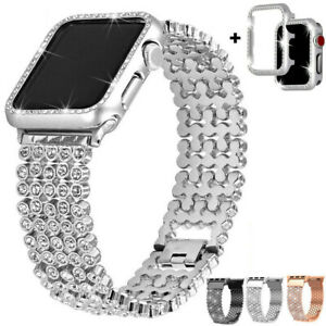 For Apple Watch Series 5/4/3 Bling diamond Bracelet Watch Strap Band Case Cover
