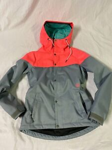 WOMENS VOLCOM BOLT INSULATED JACKET XS Grey & Neon long fit 2 layer
