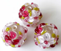 10pcs handmade Lampwork glass round Beads pink red flower 14mm