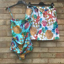 Gottex Vintage 80's Swimsuit Swimming Costume Shorts Co Ord Bandeau Tropical 14