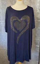 Blue Frank Usher Embellished Swirl Heart Tee-shirt Tunic Top - XL - NEW