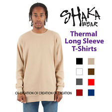 Shaka Wear Heavy Weight Thermal  Long Sleeve Plain Casual Crew Neck T-Shirt