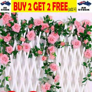 2.m Artificial Silk Rose Flowers Fake Vine Ivy Hanging Garland Floral Wedding GR