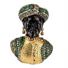 Blackamoor Ruby Emerald Gilt Sterling Designer Brooch Pin Pendant