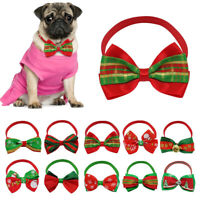 500pcs Bulk Small Christmas Dog Collar with Bowtie Xmas Cat Pet Grooming Necktie