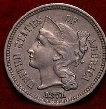 1871 Philadelphia Mint Nickel Three Cent Coin