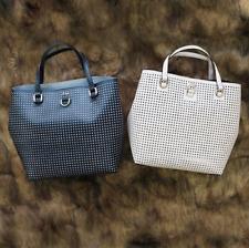 Karen Millen Black Perforated Faux Leather Bucket Bag GX108 Shopper Tote Handbag