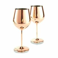 Copper Mirror Finish Wine Glasses Drinkware (Set of 2), Stainless Steel