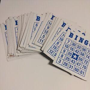 """Bingo Cards 4 1/2"""" By 6"""" Blue Letters Vintage Bingo Boards Lot Of 50"""