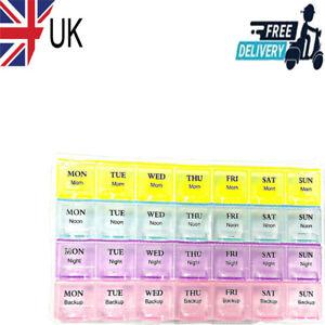 Pills box 7 Days Weekly Tablet Medicine Box Holder 28 Slot Storage Organizer UK