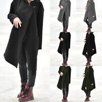 Damen Mode Poncho Cape Coat Jacket Asymmetric Winter Cloak Cardigan Outwear Top