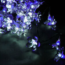 Outdoor/Indoor string Blue Midnight Flower on Black Cable