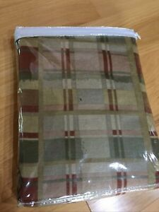 Gloria Bedding King Bedskirt Plaid Check Tan Rust Olive Rustic Country Cottage