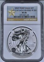 2013 W $1 West Point American Eagle Silver Coin Reverse Proof NGC PF 70 1 Oz 999