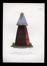 stampa 1934 costume COSTUME FESTIVO DI PIANA DEI GRECI  illustr.EMMA CALDERINI