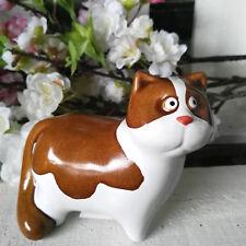 Katze Katzen Figur Statue Ton Samtpfote Hell Braun Ostern Osterdeko Dekofigur