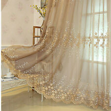 Tulle Voile Door Window Curtains Embroidery Drape Panel Sheer Scarf Home Decor
