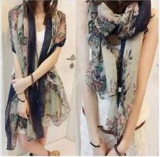 Womens Fashion Print Cotton Long Scarf Wrap Lady Large Shawl Silk Scarves Stole