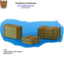 WWII 3 cajas madera RESINA varios tamaños 1/35 accesorios diorama boxes wooden