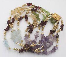 Raw Amethyst Quartz Gemstone Freshwater Pearl Multistrand Necklace Gold Tone