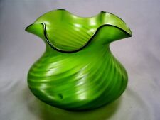LOVELY ANTIQUE ART NOUVEAU  WRYTHEN IRIDESCENT LARGE GREEN GLASS POSY BOWL /VASE