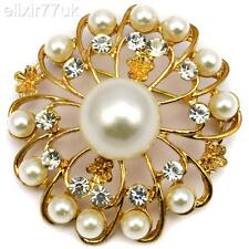 NEW GOLD FLOWER FAUX PEARL BROOCH DIAMANTE CRYSTAL WEDDING PARTY BROACH GIFT UK
