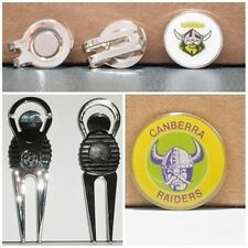 2 only CANBERRA RAIDERS  GOLF BALL MARKERS+ A NICE  DIVOT TOOL &  HAT CLIP SET