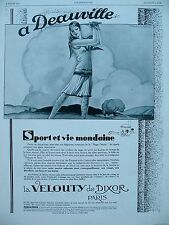 PUBLICITE DE PRESSE DIXOR LA VELOUTY A DEAUVILLE DESSIN LECLERC FRENCH AD 1929