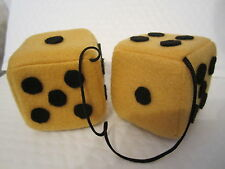 GOLD FUZZY DICE 3 inch square mirror hangers