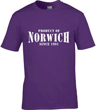 Product Of Norwich Mens T-Shirt Place Name Birthday Gift Year Of Choice