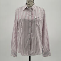 Brooks Brothers Top Pink & White Button Up Blouse 100% Cotton Size 10 Medium