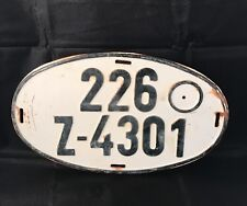 Germany 1970's EXPORT OVAL German License Plate # 226 Z-4301