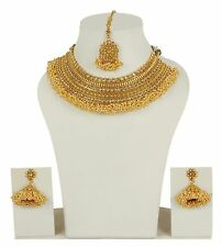 2331 Bollywood Indian Gold Plated Polki Necklace Earrings Wedding Wear Jewelry