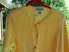 CABIN CREEK YELLOW BUTTON FRONT  OPEN KNIT CARDIGAN SWEATER TOPPER  SIZE P L