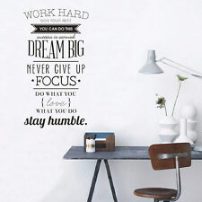 Work Hard Motivation Quote Wall Sticker Art Mural Office Home Study Décor