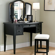 Powell Furniture Antique Black Vanity Set with Mirror