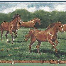 Golden Brown Horse Wallpaper Border - Golden Deep Green - Brewster Borders A427