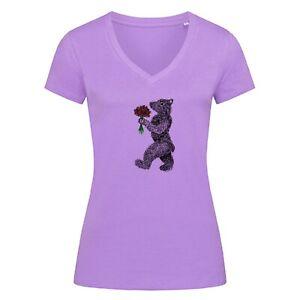 Fair Wear V-Neck Damen T-Shirt 'Bär mit Blumen-gezeichnet' 100% Bio-Baumwolle