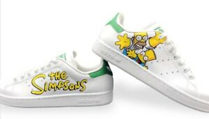 Adidas Stan Smith White & Green Homer And Bart The Simpsons [ Shoes Handemade]