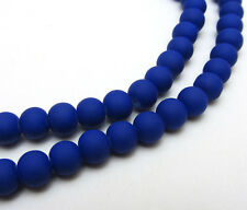 Hot New  50pcs 6mm Matte Rubber Round Glass Charm Beads Sapphire Blue