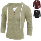 New Stylish Tops Men Casual Sweater Slim Fit V-Neck Long Sleeve Hooded Sweaters