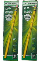 Ticonderoga Cedar Yellow Wood Pencils, 2-1/2/F Medium Lead, 24 pcs Smooth Finish