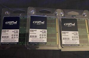 3 PACK Crucial 32GB (16GB x 2) (DDR4-2666) SODIMM Memory (CT2K16G4SFD8266)