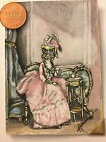 ACEO art cat lady animal portrait classical humor outsider surrealism folk dress