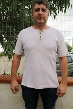 Levis VINTAGE 80 S Babycord camicia Beige lacci al petto Top Cotone XL
