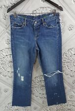 J.Crew Bootcut Jeans Distressed Destroyed Denim Paint Spattered Torn Frayed 30R