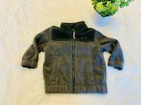 Baby Boy Infant Toddler Size 12 Month 1 Year Full Zip Fleece Jacket Gray Green