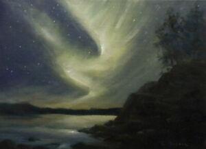 Fire in the Sky 5x7 orig oil painting Celene Farris Maine, Northern Lights ocean