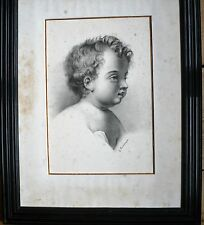DESSIN-MINE DE PLOMB-ENFANT-BEBE-C.THOURAYNE-PORTRAIT-CIRCA 1850-